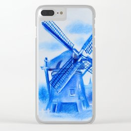 Drawing Delft-Style Windmill Clear iPhone Case