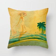 Vintage Beach Memories Throw Pillow