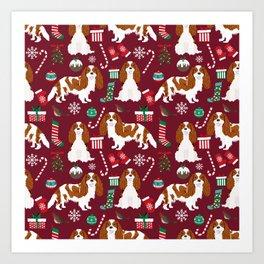 Cavalier King Charles Spaniel blenheim coat christmas pattern dog breed by pet friendly Art Print