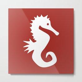 Seahorse (White & Maroon) Metal Print