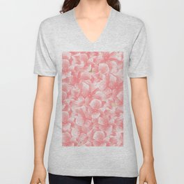 Hand painted coral white faux gold watercolor floral Unisex V-Neck