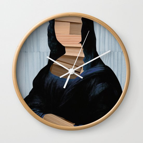 Mona Lisa - blue shining WoodCut Collage Wall Clock