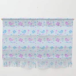 Chickadee Bird Butterfly Floral Purple Lavender Blue Wall Hanging