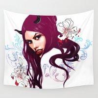 vampire Wall Tapestries featuring Vampire by Agnieszka Antosiewicz