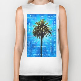 Long Beach, California - Palm Tree -  Pop Art Biker Tank