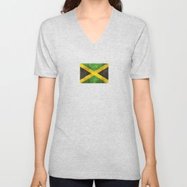 Vintage Aged and Scratched Jamaican Flag Unisex V-Neck