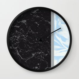 Light Blue Flower Meets Gray Black Marble #4 #decor #art #society6 Wall Clock