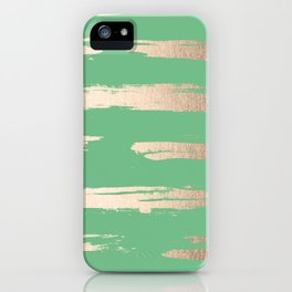 Abstract Paint Stripes Gold Tropical Green iPhone Case