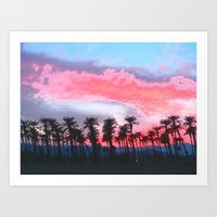 coachella Art Prints featuring Coachella Sunset by The Bun