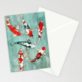 Le ballet des carpes koi Stationery Cards