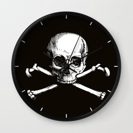 Skull and Crossbones | Jolly Roger | Pirate Flag | Black and White | Wall Clock