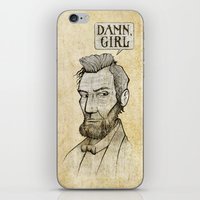 lincoln iPhone & iPod Skins featuring Damn, Lincoln by dellydel