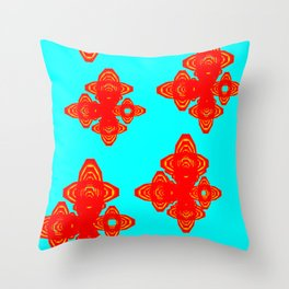 Retro Red Decorative Shapes on Turq Background Throw Pillow