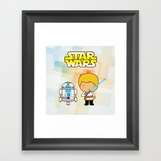 Luke Skywalker and R2D2 Framed Art Print
