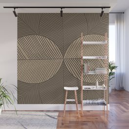 Minimal Tropical Leaves Pastel Beige Wall Mural