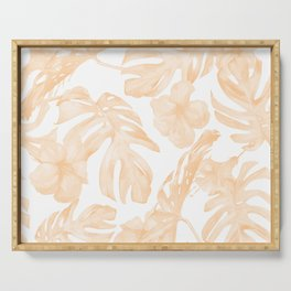 Island Vacation Hibiscus Palm Leaf Coral Apricot Orange Serving Tray