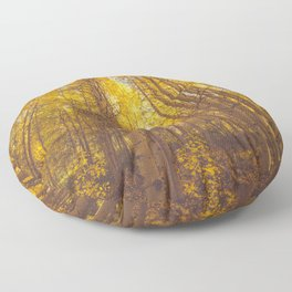Autumn trees and yellow leaves Floor Pillow