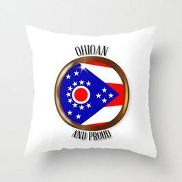 Ohio Proud Flag Button Throw Pillow