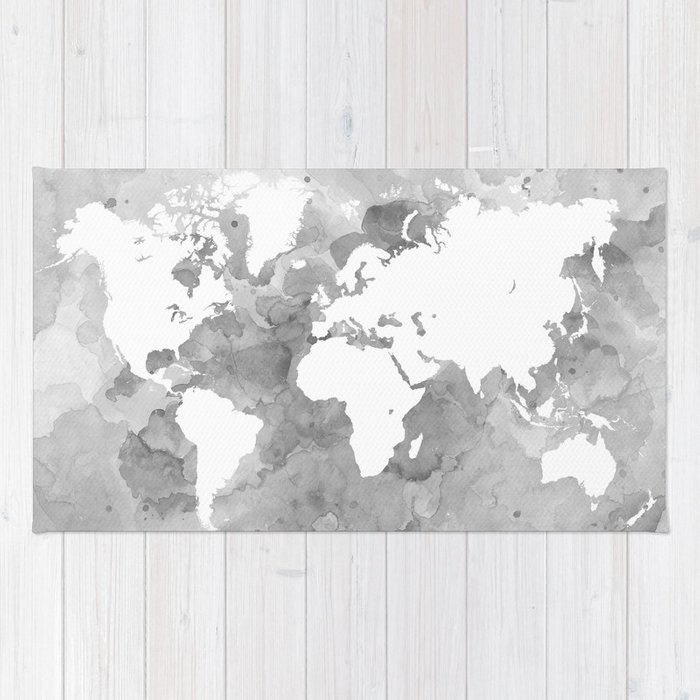 Design 49 grayscale world map rug by artbylucie society6 design 49 grayscale world map rug gumiabroncs Gallery