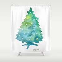 christmas tree Shower Curtains featuring Christmas Tree by Elena Sandovici