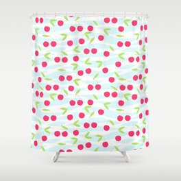 Seamless cherry pattern on striped Shower Curtain