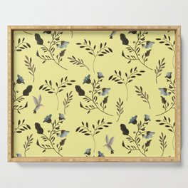 Butter Yellow and Bluebells and Bluebirds Floral Pattern Flowers in Blue and Bark Brown Serving Tray