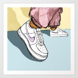 Fresh White Sneakers Illustration - don't go stompin' Art Print