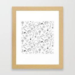 School pattern on white Framed Art Print