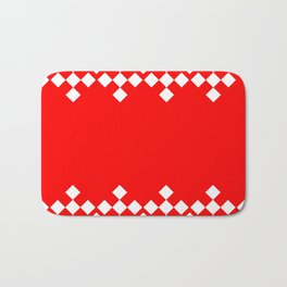 Red White Argyle Pattern Bath Mat