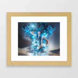 Summer concept, representation of spring, naked woman with bird feathers Framed Art Print