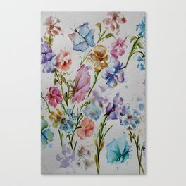 WHIMSICAL BUTTERFLIES AND FLOWERS Canvas Print