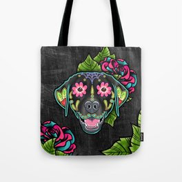 Labrador Retriever - Black Lab - Day of the Dead Sugar Skull Dog Tote Bag