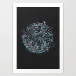 Crow Full Moon (March) Art Print