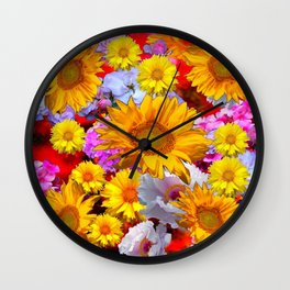 YELLOW FLOWERS FLORAL RED  ART PATTERN Wall Clock