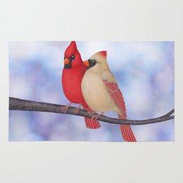 northern cardinals (bokeh) Rug