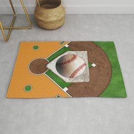Baseball Field, Base and Ball over Orange Sports Pattern Rug