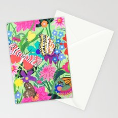 Butterfly and Moths Pattern - Green Stationery Cards