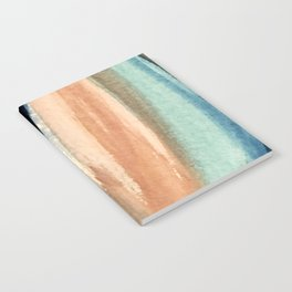 Waves - a pretty minimal watercolor abstract in blues, pinks, and browns Notebook