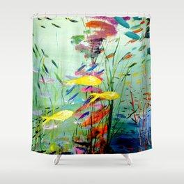 Yellow Fish Shower Curtain