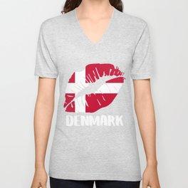 DNK Denmark Kiss Lips T-Shirt Unisex V-Neck