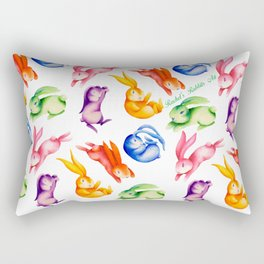 Hop to it! Bunny Rabbit Rainbow Rectangular Pillow