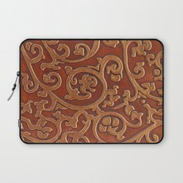 Golden Reddish Brown Tooled Leather Laptop Sleeve