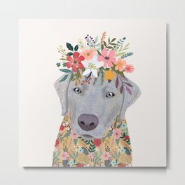 Silver Labrador with Flowers Metal Print