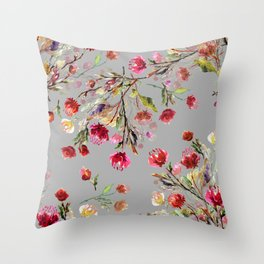 Trendy Floral pattern in the many kind of flowers. Botanical Motifs scattered random illustration pattern Throw Pillow