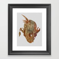 feathers and skull Framed Art Print