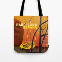 barcelona Tote Bags featuring Barcelona by Shirong Gao