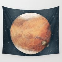 planet Wall Tapestries featuring The Red Planet by Tracie Andrews