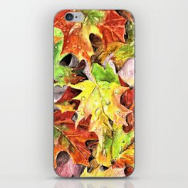Autumn Leaves with Raindrops, Fall Art, Colorful Leaves, Anne Hockenberry iPhone Skin