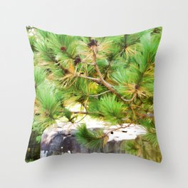 Evergreen tree branches with cones Throw Pillow