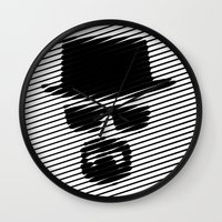 walter white Wall Clocks featuring Walter White by Beastie Toyz